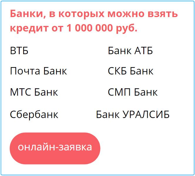 взять кредит 1 млн рублей