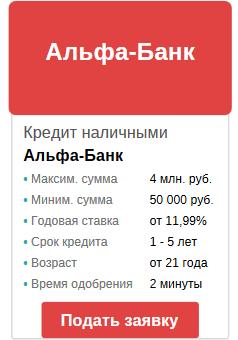 оставить срочную заявку на кредит в альфа-банке