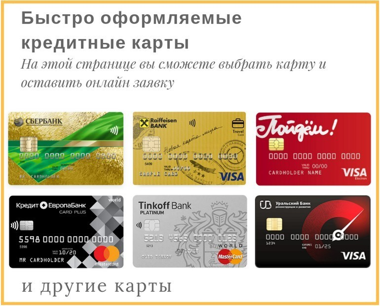 банки и их быстро оформляемые карты с кредитным лимитом