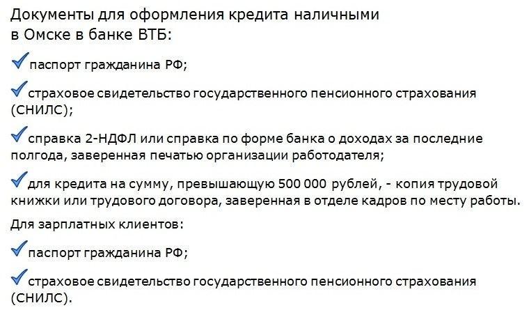документы для взятия кредита в омском филиале втб