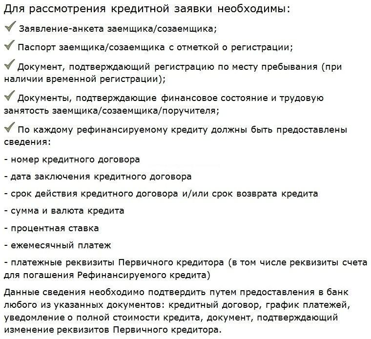 основные документы по условиям перекредитования в Сбербанке ипотеки