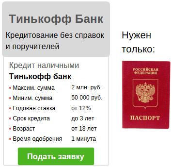 кредит 100000 по паспорту без справок