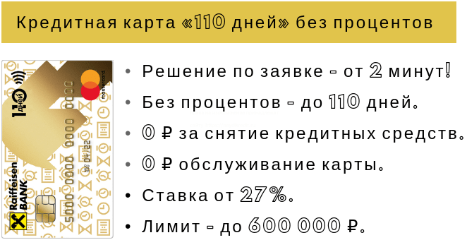 Кредитная карта 110 дней без процентов райффайзенбанк условия