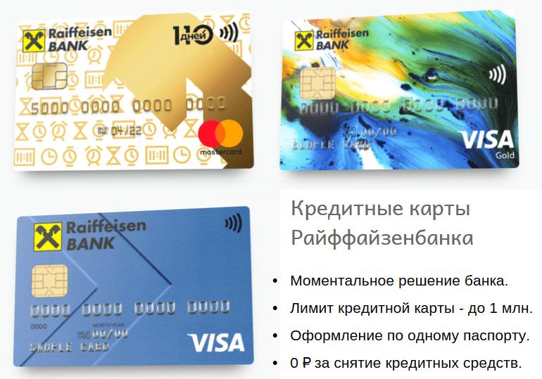 моментальные кредитки Райффайзенбанка