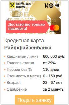 ссылка на подачу заявки на кредитку Райффайзенбанка