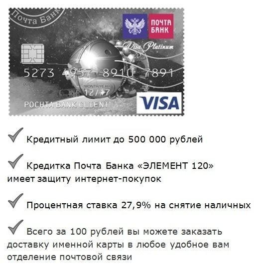 особенности кредитки почта банка