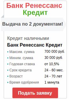 онлайн заявка на кредит деньгами в банке ренессанс кредит