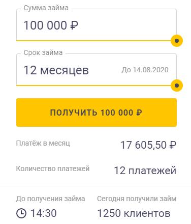 заявка на заём в 100000 рублей