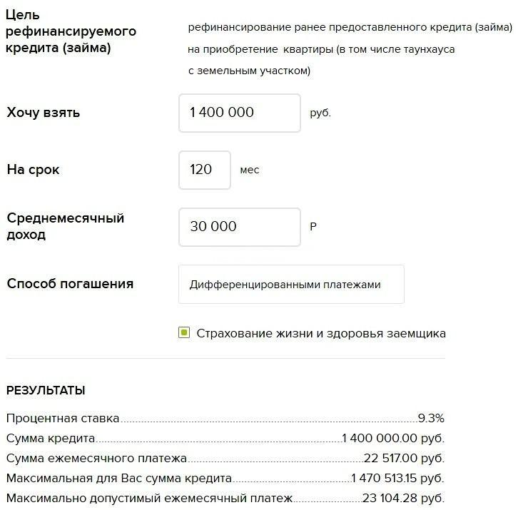пример расчета рефинансирования ипотеки в россельхозбанке