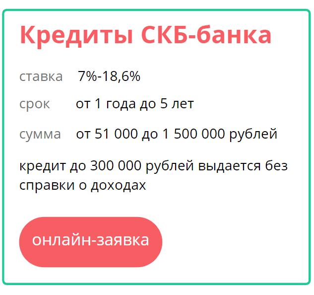 онлайн заявка на взятие кредита в СКБ банк