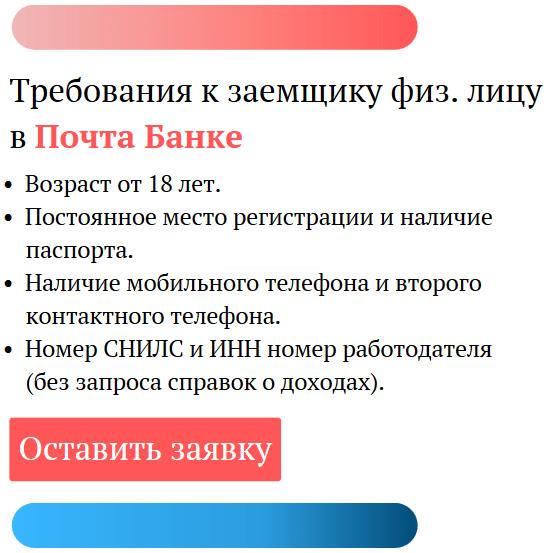 заявка на кредит в почта банк онлайн заявка на кредит наличными индекс