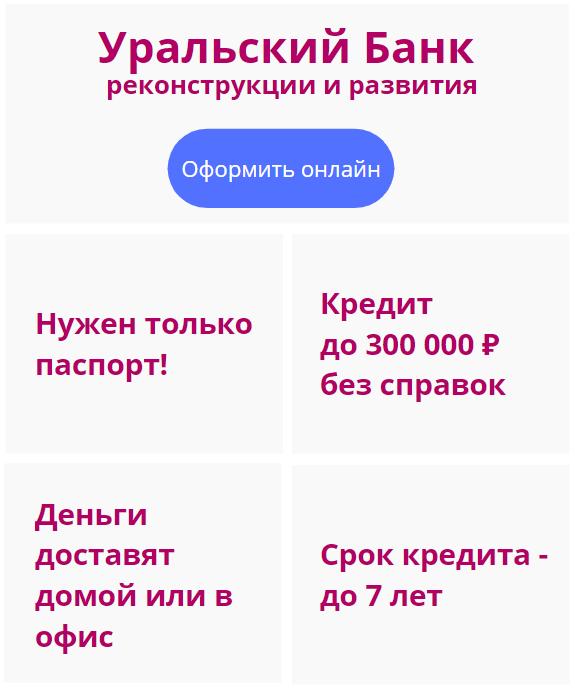кредит через интернет в банке УБРИР