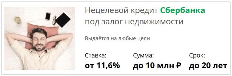 залоговый кредит Сбербанк