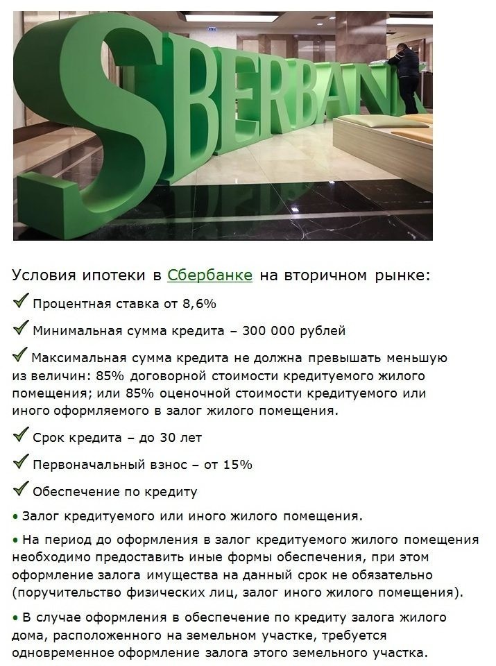 главные условия ипотеки в сбербанке на вторичном рынке