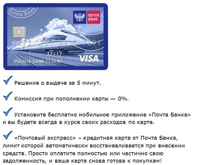 основные условия оформления кредитки почта банка