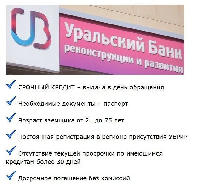 условия по срочному кредиту в банке убрир