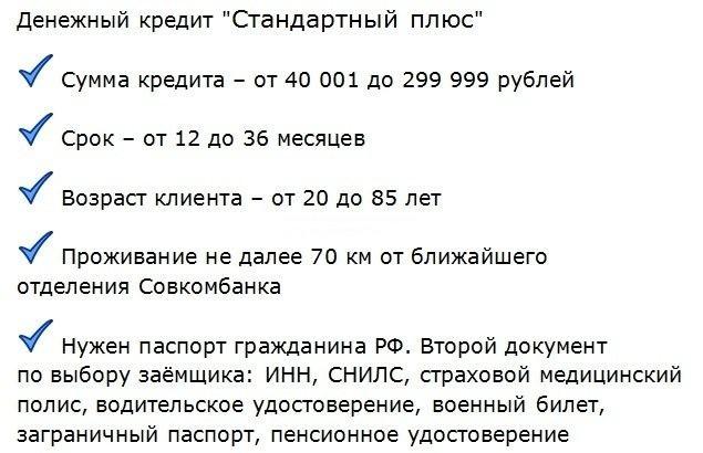 условия выдачи Совкомбанком мгновенного кредита без отказов
