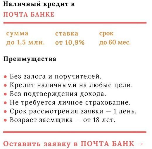 Почта Банк - преимущества взятия кредита наличными средствами без доказательства фактического заработка