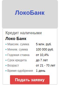 онлайн заявка на кредитование в локобанк