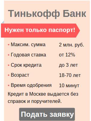 Онлайн-заявка и условия кредита без справок в Москве
