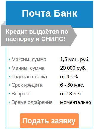 наличный кредит в Почта банке с плохой КИ