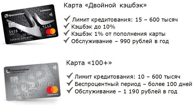 основные условия кредитных карт промсвязьбанка