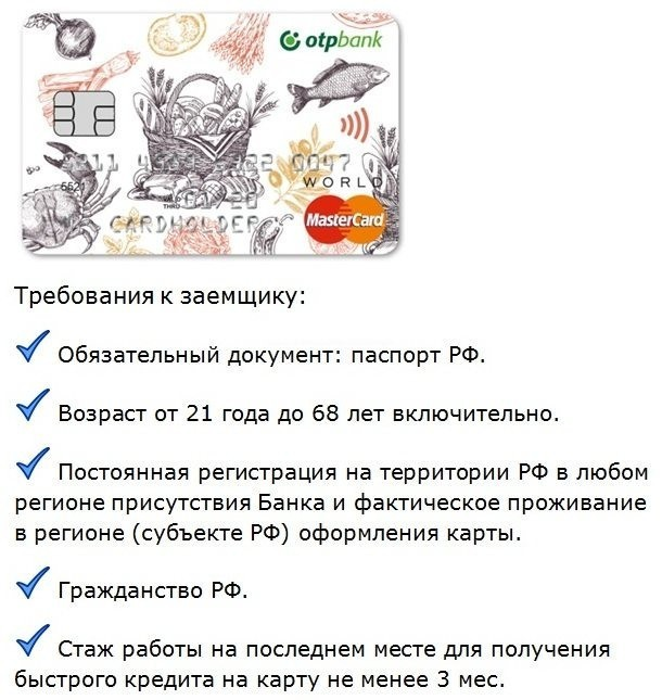 требования отп банка при супер быстром кредите на карту