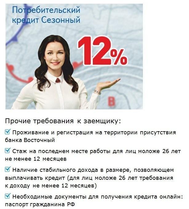 требования при наличном кредите онлайн в восточном банке