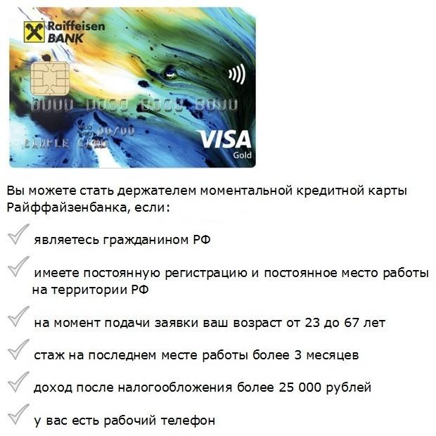 требования в банке для оформления кредитной карты с моментальным решением
