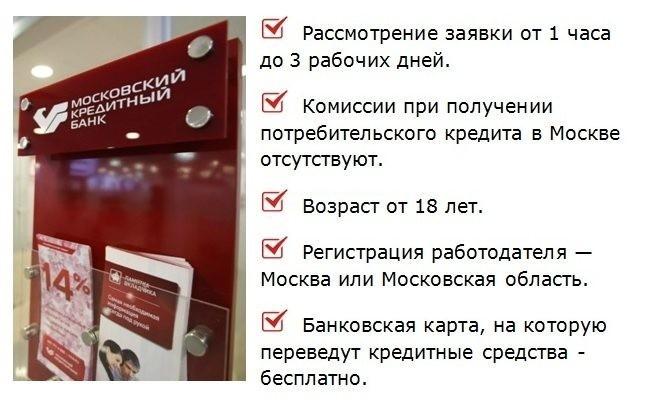 представлены условия потребительского кредита в москве