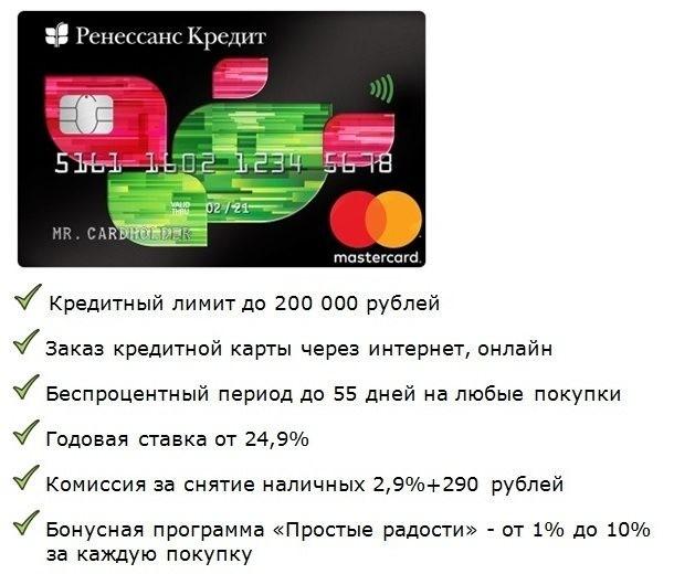 условия заказа кредитки в банке ренессанс кредит